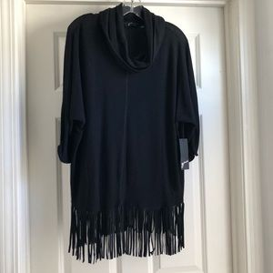 Sweaters - Fringe Cowl Neck Pullover